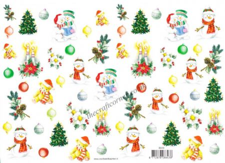 Christmas Snowman, Teddy Bear, Tree and Floral  Designs Decoupage Sheet